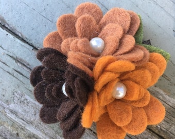 Beautiful Fall Brown Copper Pumpkin Wool Felt Flower Trio Hair Clip Babies,Toddlers, Girls