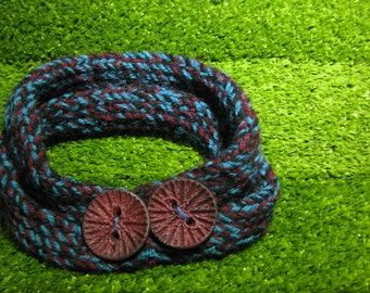 Blue and Cherry neckwarmer