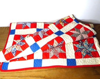 Vintage Hand Sewn Feed Sack Quilt Cotton Hand Made Star Quilt 1930's 1940s Quilt Farmhouse Bedroom Decor Colorful Quilt Red White and Blue