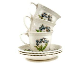 Johnson Brothers Demi Cups Saucers, Vintage Demitasse Set, Espresso Cups Saucers, Old Flower Print Pattern