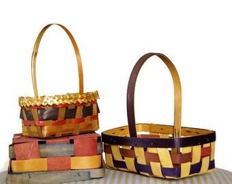 Vintage Easter Baskets, 1950s Woven Baskets, Easter Basket Collection, Made in Japan