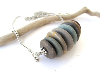 Beach Stone Cairn Necklace Stone Necklace Rock Jewelry Mediterranean Natural Stone Jewelry River Stone Stacked Necklace Silver CAIRO