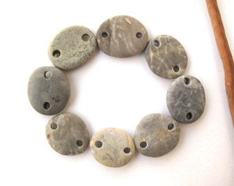 Links Rock Mediterranean Beach Stone Pebble Jewelry Beads River Rock Connectors COOL GREY LINKS 17-19 mm