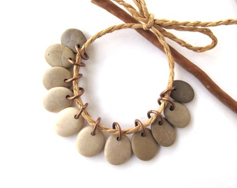 Rock Charms Beach Stone Beads Small Pebble Beads Jewelry Findings Mediterranean River Rock Beads Pairs Copper FADING MIX 13-14 mm