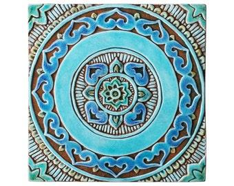decorative tile for outdoor wall art with circle design, turquoise mandala garden decor, garden art made from ceramic, mandalita 30cm liso