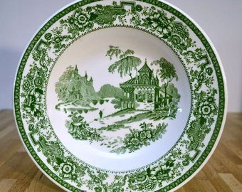 Vintage Syracuse China Green Transferware Old Ivory Mayfair English Countryside Scene Floral Band 9 Inch Vegetable Bowl
