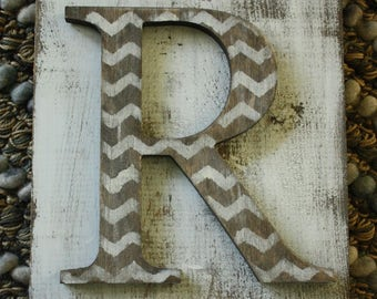 Chevron Hanging Farmhouse letter R sign- Wall hanging letter READY TO SHIP R Wedding gift teacher gift