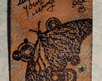 Butterfly Butterflies Mixed Media Watercolor Collage ACEO's Artist's Trading Card
