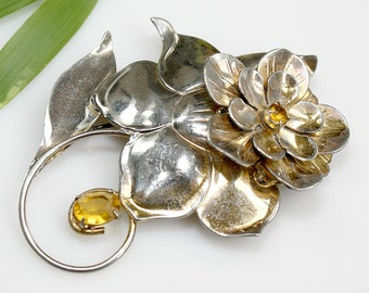 """Vintage Large 3"""" STERLING Silver Flower Brooch / Pin ~ Yellow Rhinestones ~ Gift For Her Birthday - Estate Sale Jewelry ~ Holiday ~ Heirloom"""