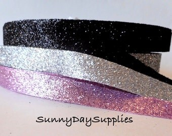 Glitter Ribbon, Black, Silver, Pink, Glitter and Sparkle,  4 Yards, 5/8 in. wide, Sparkle Ribbon, Weddings, Showers, Special Occasion Ribbon