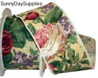 Tapestry Ribbon, Old Fashioned Cabbage Roses, Linen Style, Burgundy, Mauve, Lavender Flowers, Wide and Wired Ribbon, 2 YARDS, 2.5 in. wide