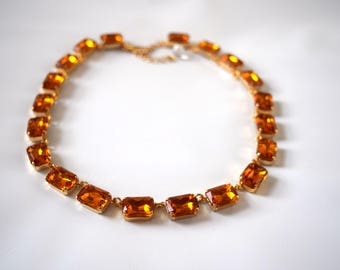 Orange Crystal Necklace, Orange Topaz Jewelry, Citrine Collet Necklace, Georgian Paste Jewelry, Rococo 18th Century, Paste regency necklace