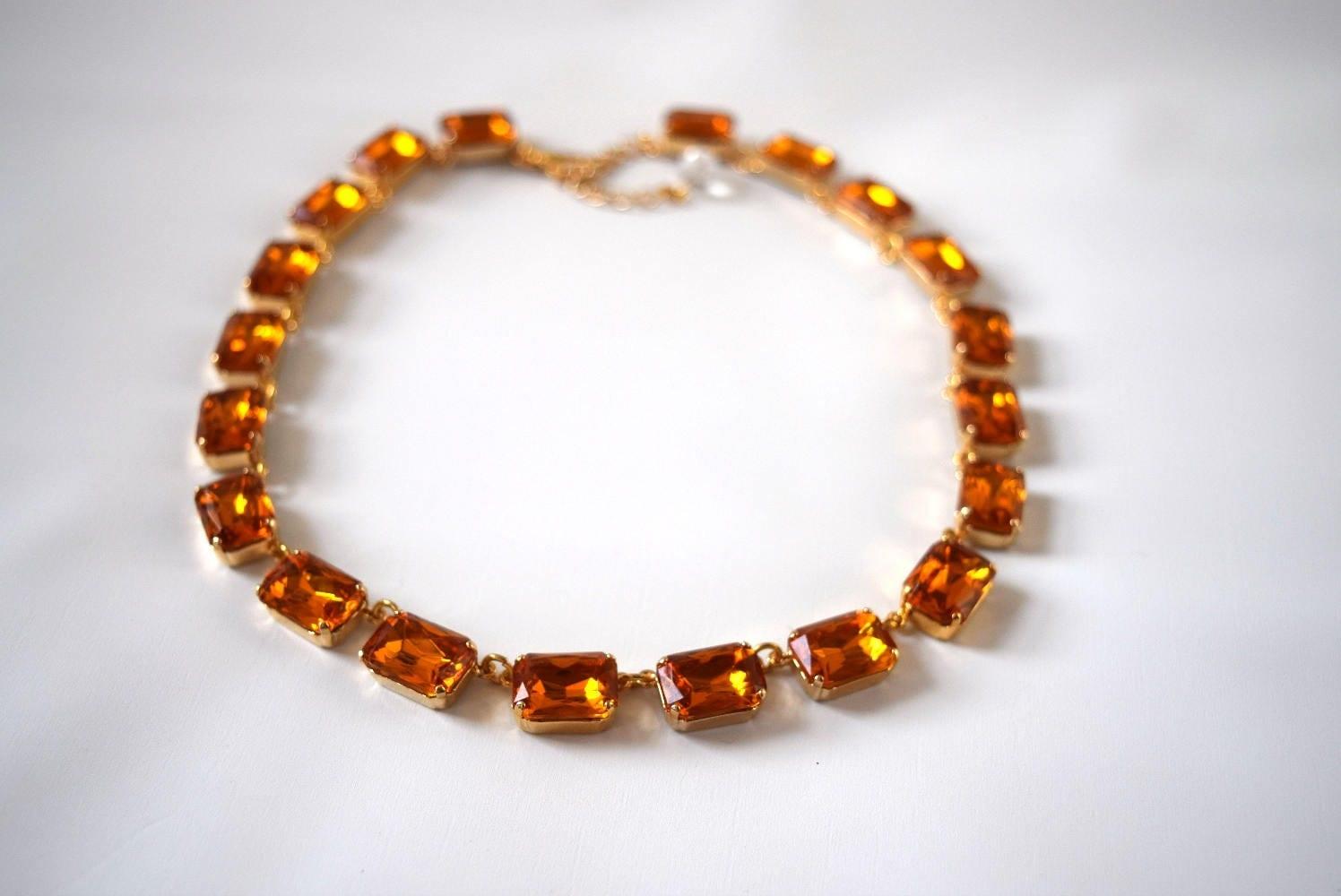 orange necklace orange topaz jewelry citrine collet