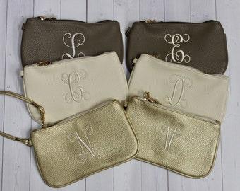 Monogram Wristlet - Personalized Bag - Bridesmaid Gift - Small Purse - Phone Purse - Mini Purse - Cell Phone Purse - iPhone purse
