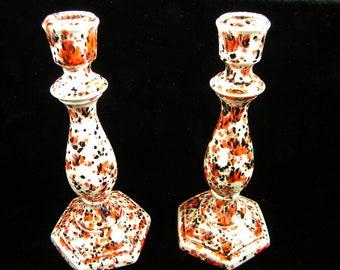 Pair of Vintage Ceramic Candlesticks / Spattered Glaze Black and Red / Orange / 1970's / MOD Splash of color / set of 2