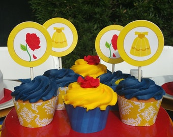 Princess Rose Small Party Circles Printable - Cupcake Topppers - Princess Rose Collection