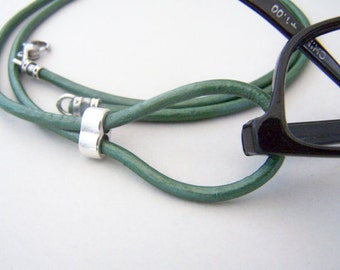 Teal Eyeglass Lanyard, Leather Cord Eyeglasses Loop, 26-36 inchs, Eyeglasses Holder, Eyeglass Necklace, Eyeglass Chain, by Eyewearglamour