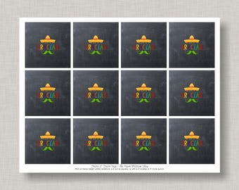 Chalkboard Fiesta Favor Tags, Fiesta Decorations, Cinco de Mayo, Printable Favor Tags