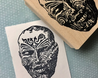 Tattoo Face Rubber Stamp