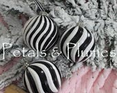 Set of 3 Large Black White Swirl Striped Ball Ornaments  - Hand Painted- (SEE Photos for measurements)- READY to SHIP -Sold as Shown