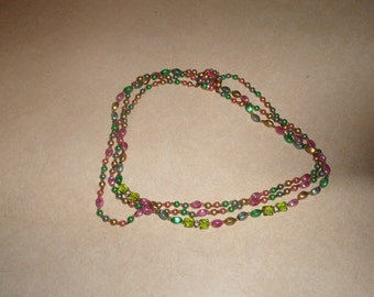 vintage necklace triple strand colorful lucite glass