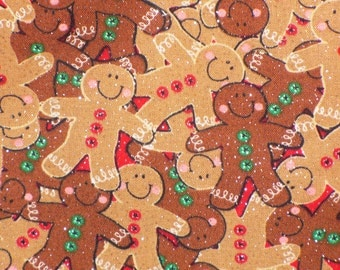 Gingerbread Men, Packed Gingerbread Men Cookies, Christmas Fabric, Christmas Cookies, Glitter in Fabric, By the Yard