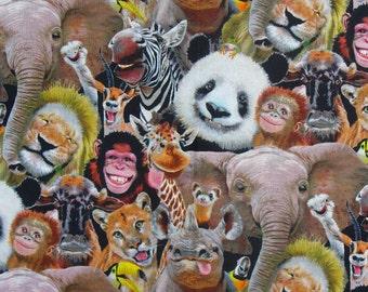 Zoo Selfies, Animals Fabric,  Animals Selfies,  Realistic Animals, Elephants, Lions, Pandas, Rhinos,  Giraffes, Zebras, By the Yard