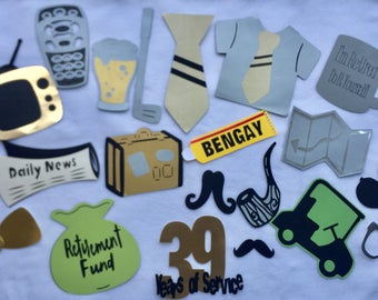 RETIREMENT PHOTO BOOTH  props, mom retirement, dad retirement parties,  party decor for retirement parties, anniversary party decor