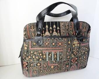 Vintage 1950s Black Leather Satchel  Vintage Painted Tapestry Shoulder bag  Black Leather Tapestry Painted Tote Satchel Handbag Mad Men Bag