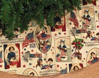 "Patriotic Christmas Tree Skirt, Americana Christmas Decor, USA Decoration, Red White and Blue, Vintage Style Tree Skirt, 42"" Diameter"