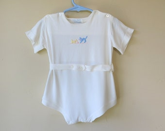 Baby Boy Onesie Ivory Celanese Jersey 18 Months Embroidered Cat Dog 483b
