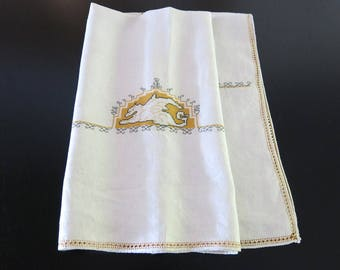 Italian Ivory Linen Tablecloth 1920 Assisi Embroidery Saffron Gold and Black 33 by 35 Inches 674b