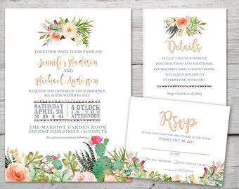 Succulents Wedding Invitation Set with Invitation, RSVP, Insert Card and Envelopes, Cactus Wedding Invitation, Desert Wedding Invitation