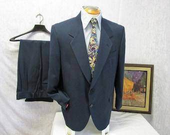 80s 42S Blue Men's Suit Pleated Pants Moores