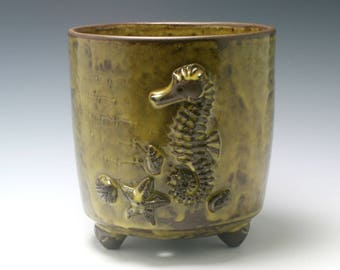Extra Large Handmade Ceramic Utensil Holder OR Planter in Yellow/Green with Brown Seahorse, shells and Texture/Ceramics and Pottery