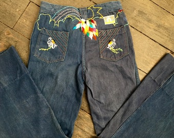 Hand Embroidered Vintage Bell Bottom Pants