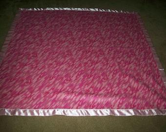 Pink Camo Polar Fleece Blanket with Pink Satin Binding