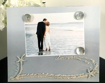 Handmade Magnetic Picture Frame Size 9 x11 Holds 5 x 7 Photo Gift Home Decor Memory Heart in Sand Starfish Beach Wedding Vacation Bridal