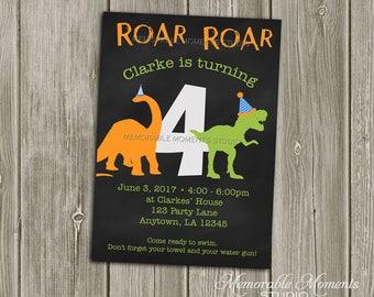 PRINTABLE INVITATIONS Chalkboard Dinosaur Party Invitation - Memorable Moments Studio