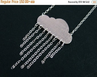 Cloud Necklace - Silver Rain Cloud Jewelry - Unique Weather Necklace - Gift Ideas for Her