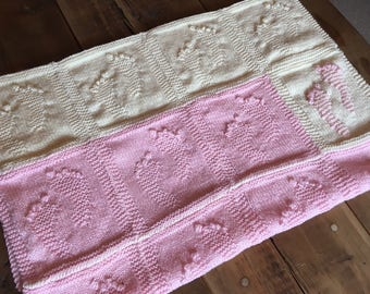 Bank Holiday Sale...Hand Knitted Baby Footprints Blanket - Cream & Baby Pink