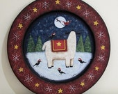 RESERVED FOR MRJINGLES164, Christmas Folk Art Hand Painted Wood Plate, Primitive Winter Scene, Sheep, Crows Watch Santa and Reindeer