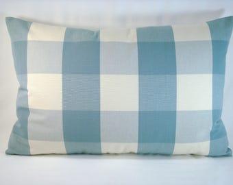 Blue Buffalo Check Pillow Wedgewood Buffalo Check Accent Check Pillow 15x23  Cover