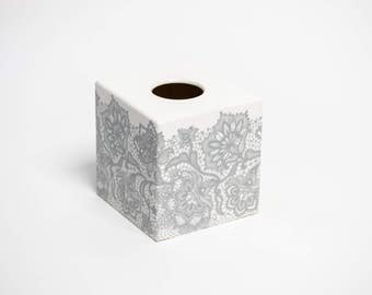 Silver Lace Tissue Box Cover wooden handmade perfect in homes/ hotels