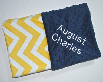 SALE Monogrammed Baby Blanket - Minky Chevron, Bright Yellow and Navy Blue Personalized, Baby Girl Blanket with name, Birth Stats Newborn