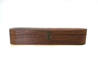 Wooden Pen Box Trinket Box Brass Clasp and Inlay