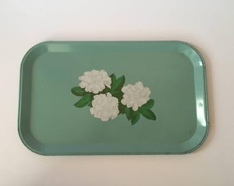 Small Vintage Mint Green and Floral Metal Tray, Flower Tray, Decorative Metal Tray, Home Decor