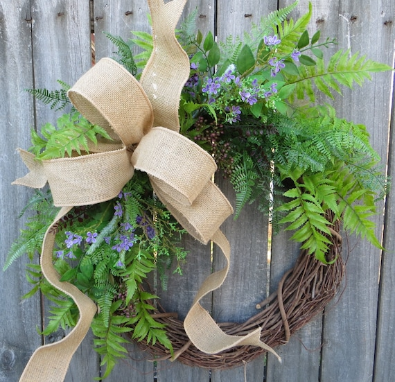 Greenery Wreath - Wreath Great for All Year Round - Everyday Burlap Wreath, Door Wreath, Front Door Wreath