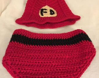 Pretty Fire Fighter Hand Crocheted Hat & Diaper Cover Set  Baby Photo Prop 0-9 months