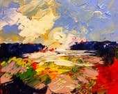 Southern Plein air Landscape Study - Original Abstract Oil Painting  by Claire McElveen Available Framed As Shown